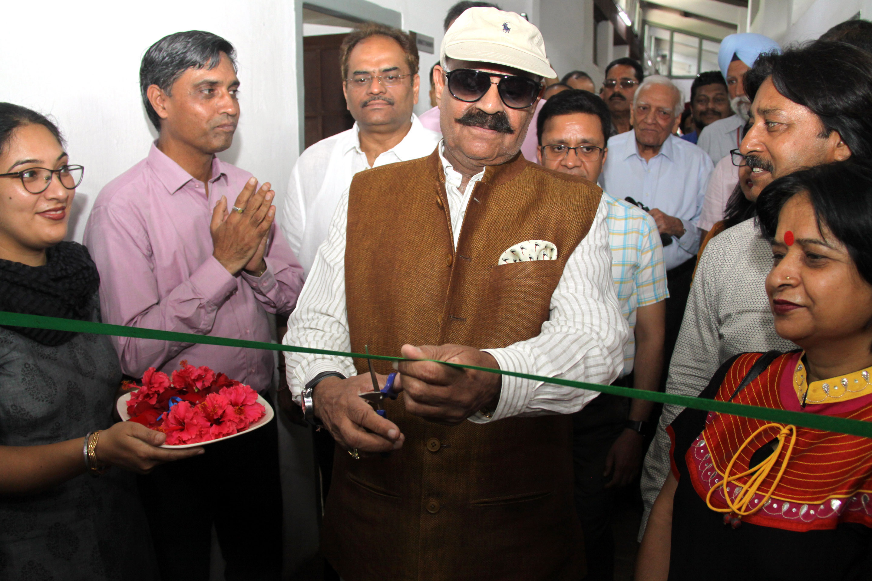"""The Governor of Punjab and Administrator, UT, Chandigarh, Shri V.P. Singh Badnore alongwith the Adviser to the Administrator, UT, Chandigarh, Shri Parimal Rai inaugurating the """"Open Hand Art Studio"""" on the occasion of 122nd Birth Anniversary of Pierre Jeanneret at Le Corbusier Centre, Sector-19, Chandigarh on Tuesday, April 17, 2018."""