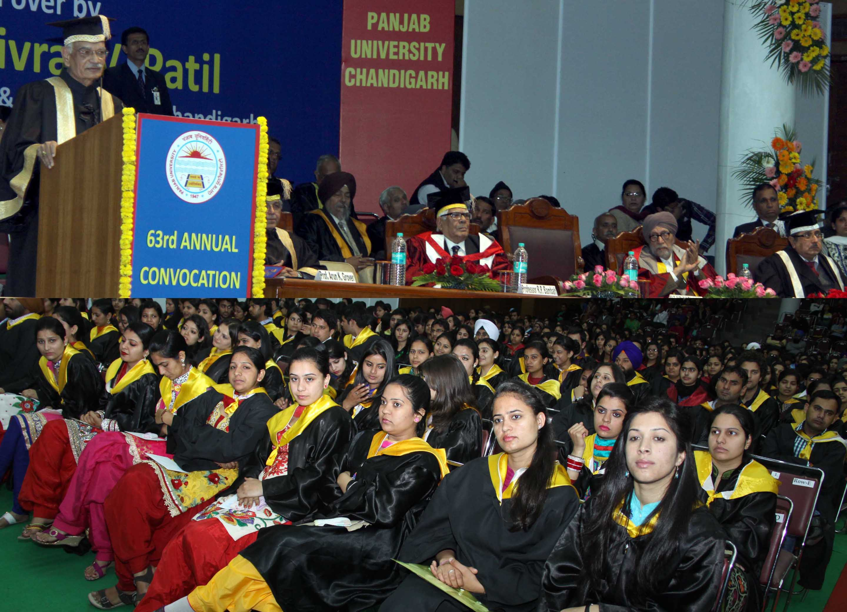 The Punjab Governor and Administrator, Union Territory, Chandigarh, Mr. Shivraj V. Patil presiding over the 63rd Annual Convocation at Panjab University, Chandigarh on Sunday, March 09, 2014.