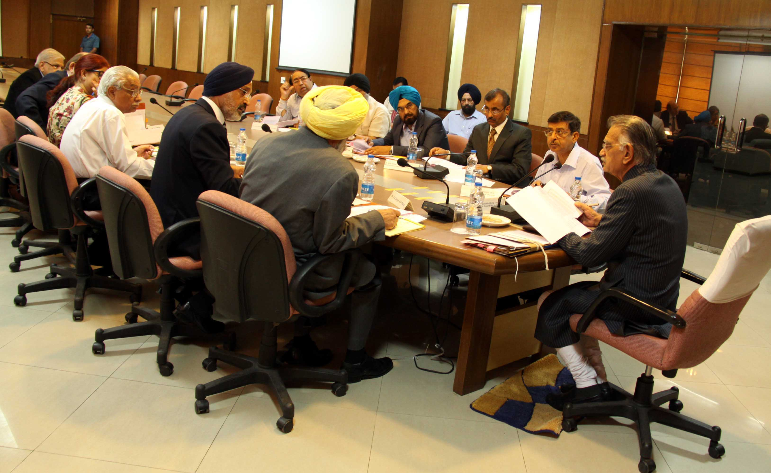 The Punjab Governor and Administrator, UT, Chandigarh, Mr. Shivraj V. Patil presiding over a meeting of Governing Body of Punjab Public School Nabha at Chandigarh on 15.04.2014.
