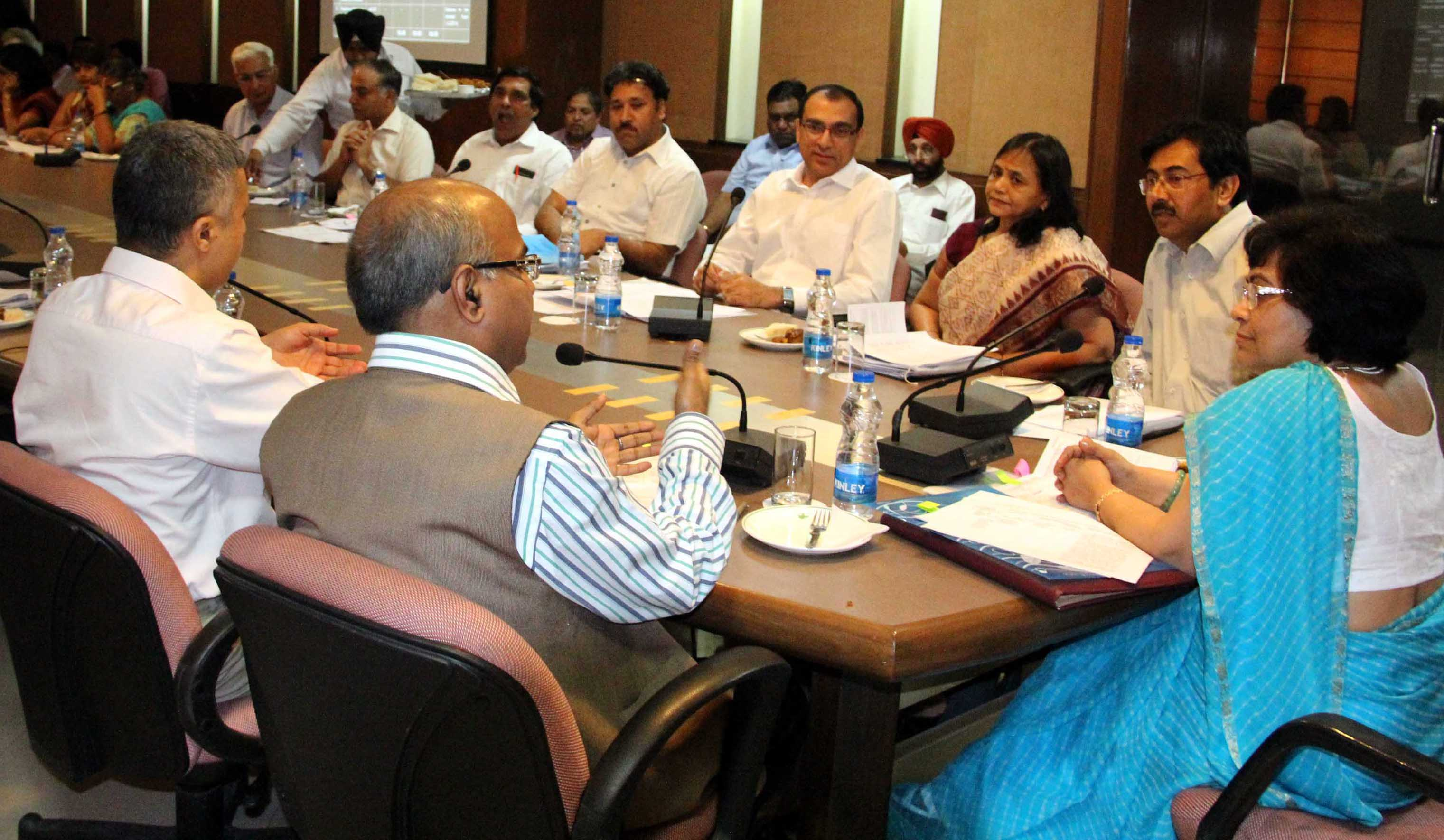 Mrs. Sneh Lata Kumar, Secretary (Border Management) Ministry of Home Affairs, New Delhi chairing the meeting with the senior officers of Chandigarh Administration to review the progress of implementation of Centrally Sponsored Schemes in UT, Chandigarh at UT State Guest House, Chandigarh on Monday, April 21, 2014.