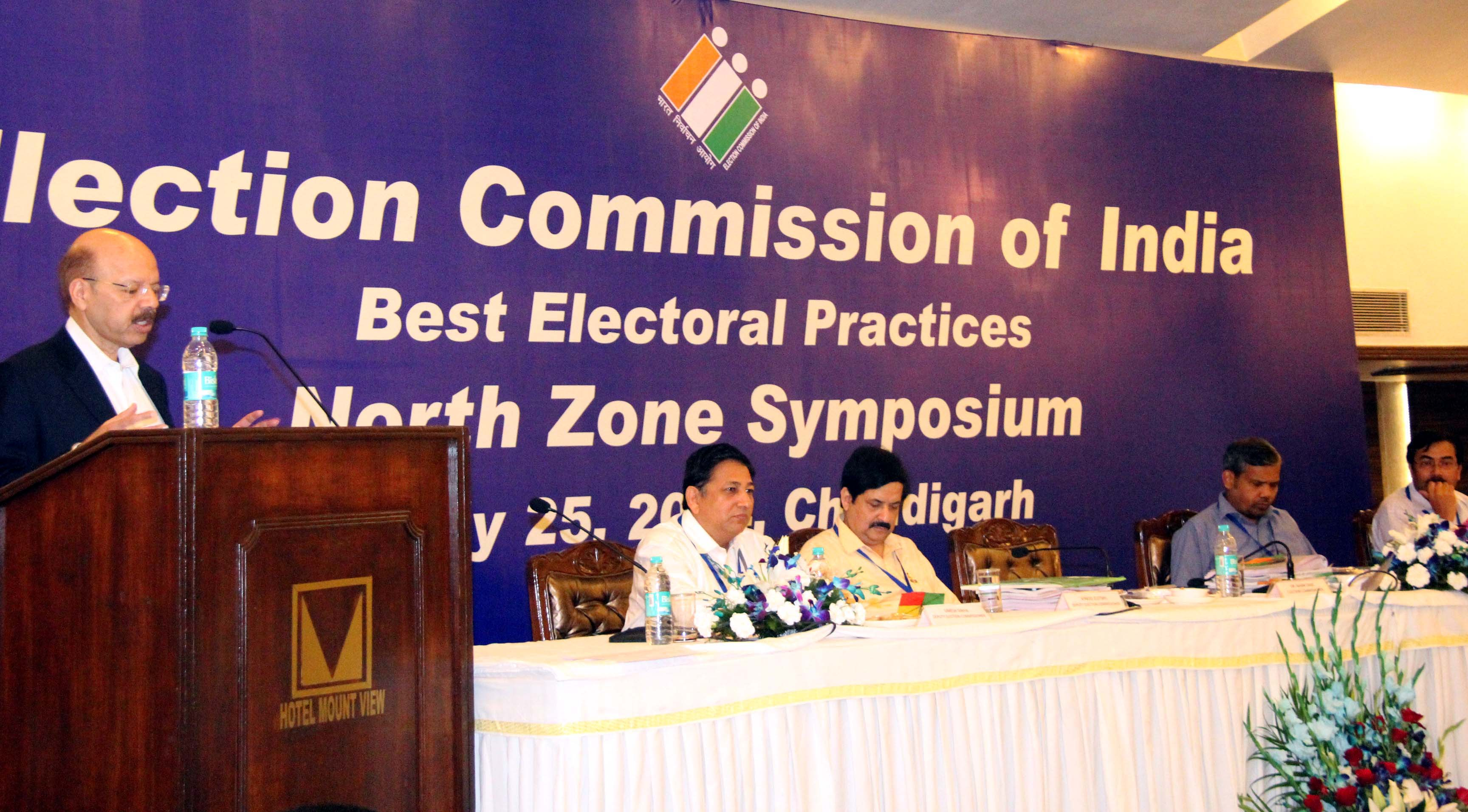 Hon�ble Dr. Nasim Zaidi , Election Commissioner of India presiding over the Election Commission of India best electoral practices North Zone Symposium at Hotel Mountview, Sector-10, Chandigarh on Friday, July 25, 2014.