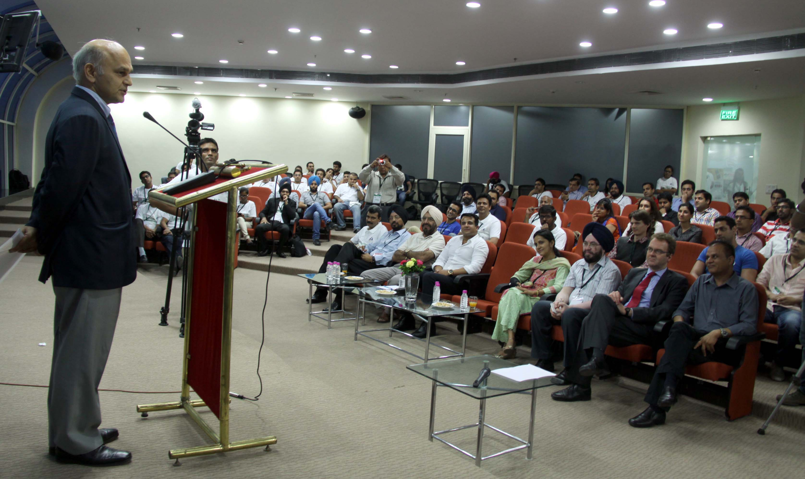 The Adviser to the Administrator, UT, Chandigarh, Mr. K.K. Sharma addressing in the Three-Days Startup Weekend at the Entrepreneurship Development Centre, Rajiv Gandhi Technology Park, Chandigarh on Friday, July 25, 2014.