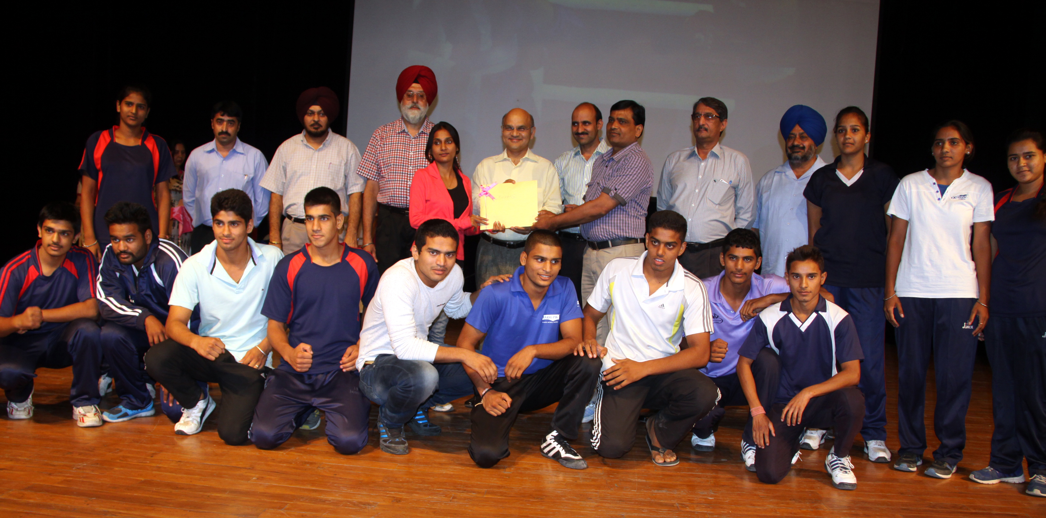 The Adviser to the Administrator, UT, Chandigarh, Mr. K.K. Sharma honoring the outstanding sports persons on the occasion of National Sports Day-2014 at Tagore Theatre, Sector-18, Chandigarh on Friday, August 29, 2014.