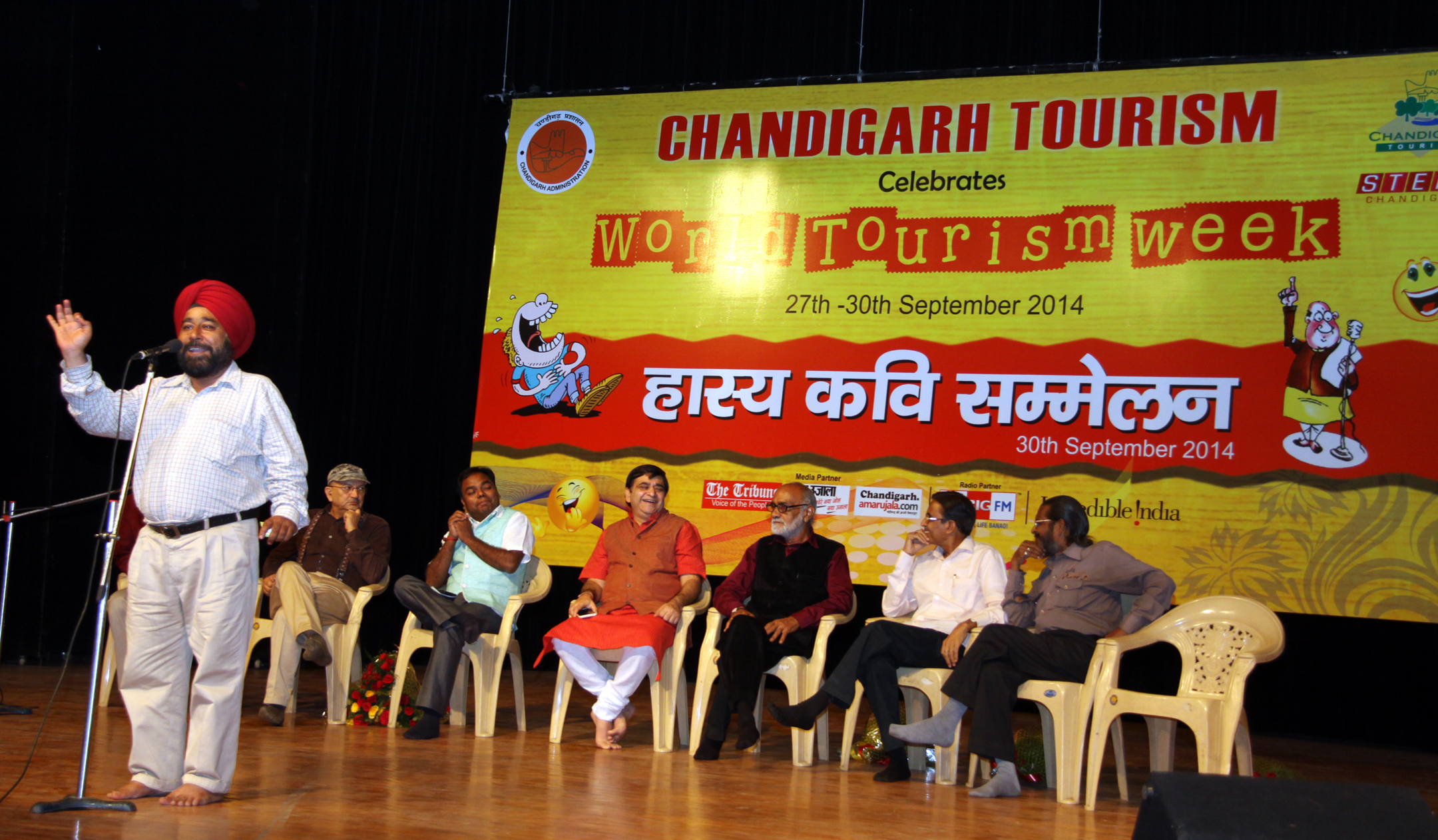 Chandigarh Tourism Department organised Hasya Kavi Sammelan on the occasion of �World Tourism Week-2014� at  Tagore Theatre, Sector-18, Chandigarh on Tuesday, September 30, 2014.