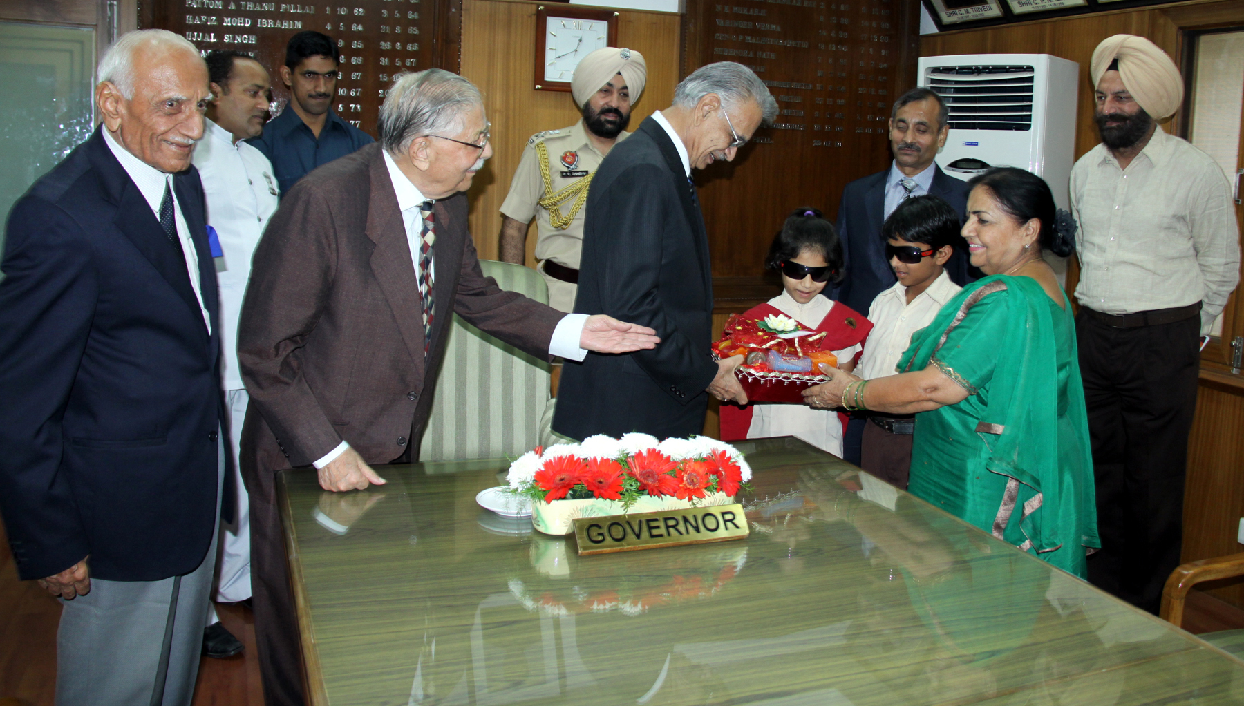 Students of Blind Institute Sector 26 Chandigarh presenting designer candles to Punjab Governor and Administrator UT Chandigarh Mr. Shivraj V. Patil at Punjab Raj Bhavan on 21.10.2014.