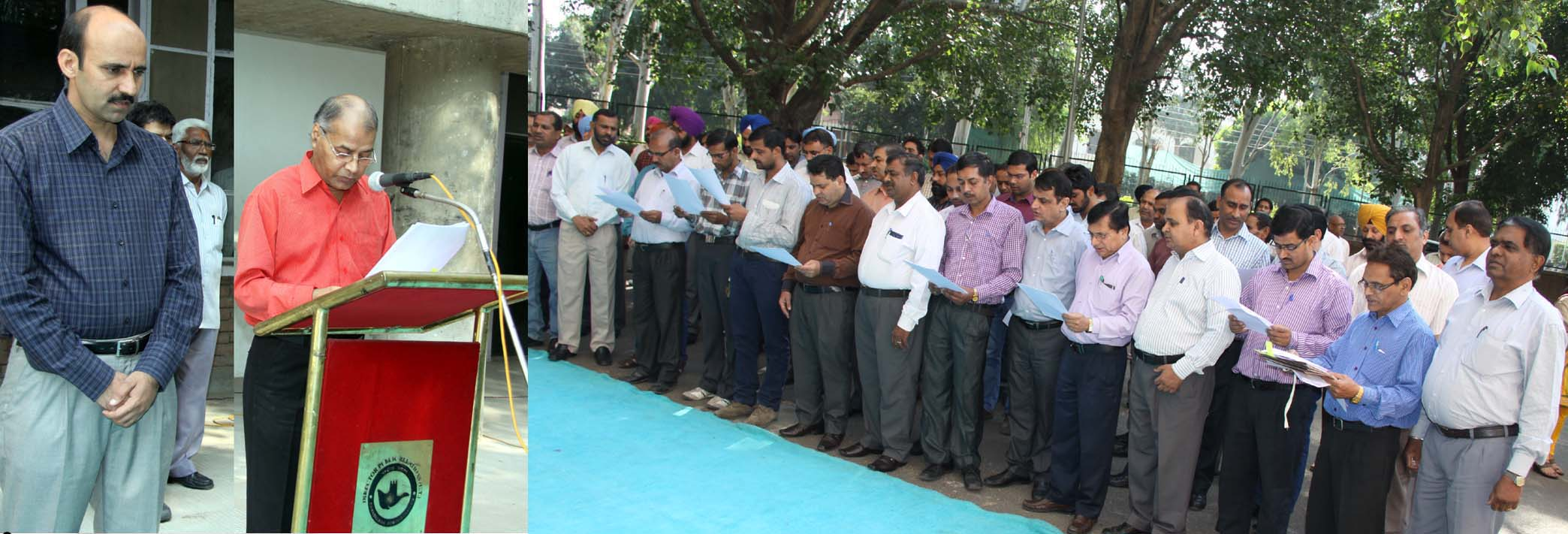 Director Public Relations-cum-Joint Secretary Home, Chandigarh Administration, Mr. M.M. Sabharwal administering the pledge to the officials of Chandigarh Administration on the occasion of Rashtriya Ekta Diwas at UT Secretariat, Chandigarh on Friday, October 31, 2014.