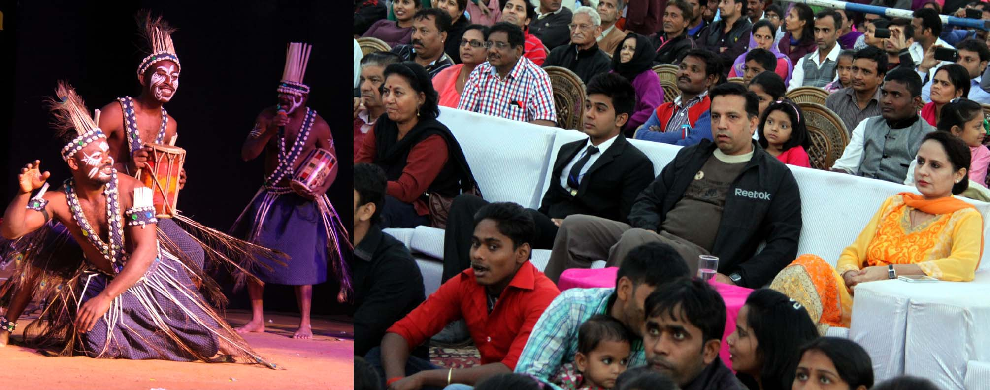 UT Director Cultural Affairs, Mrs. Amandeep Kaur and others watching the Folk Dances at the closing ceremony of 6th Chandigarh National Craft Mela at Kalagram, Chandigarh on Sunday, November 23, 2014.