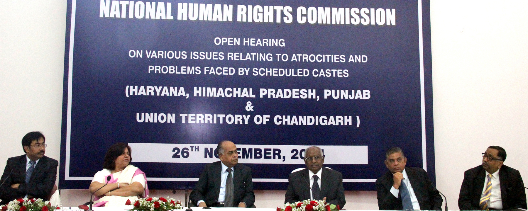 Hon�ble Mr. Justice K.G. Balakrishnan, Chairperson of the National Human Rights Commission addressing at the inauguration of open hearing on various issues relating to atrocities and problems faced by scheduled castes at UT State Guest House, Chandigarh on Wednesday, November 26, 2014.