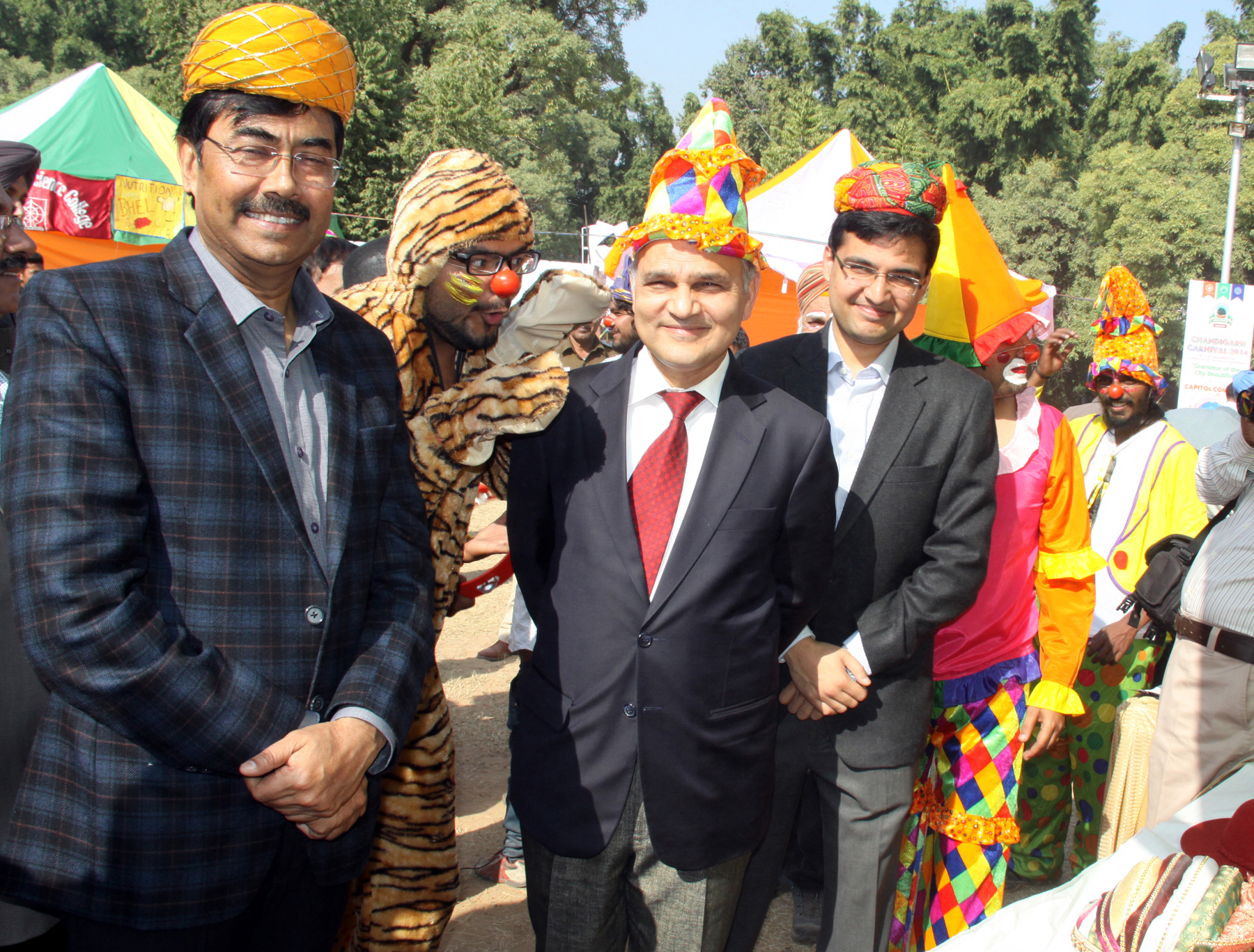 The Adviser to the Administrator, UT, Chandigarh, Mr. K.K. Sharma, UT Home Secretary, Mr. Anil Kumar alongwith officers taking a round of the Chandigarh Carnival-2014 at Leisure Valley, Sector-10, Chandigarh on Friday, November 28, 2014.