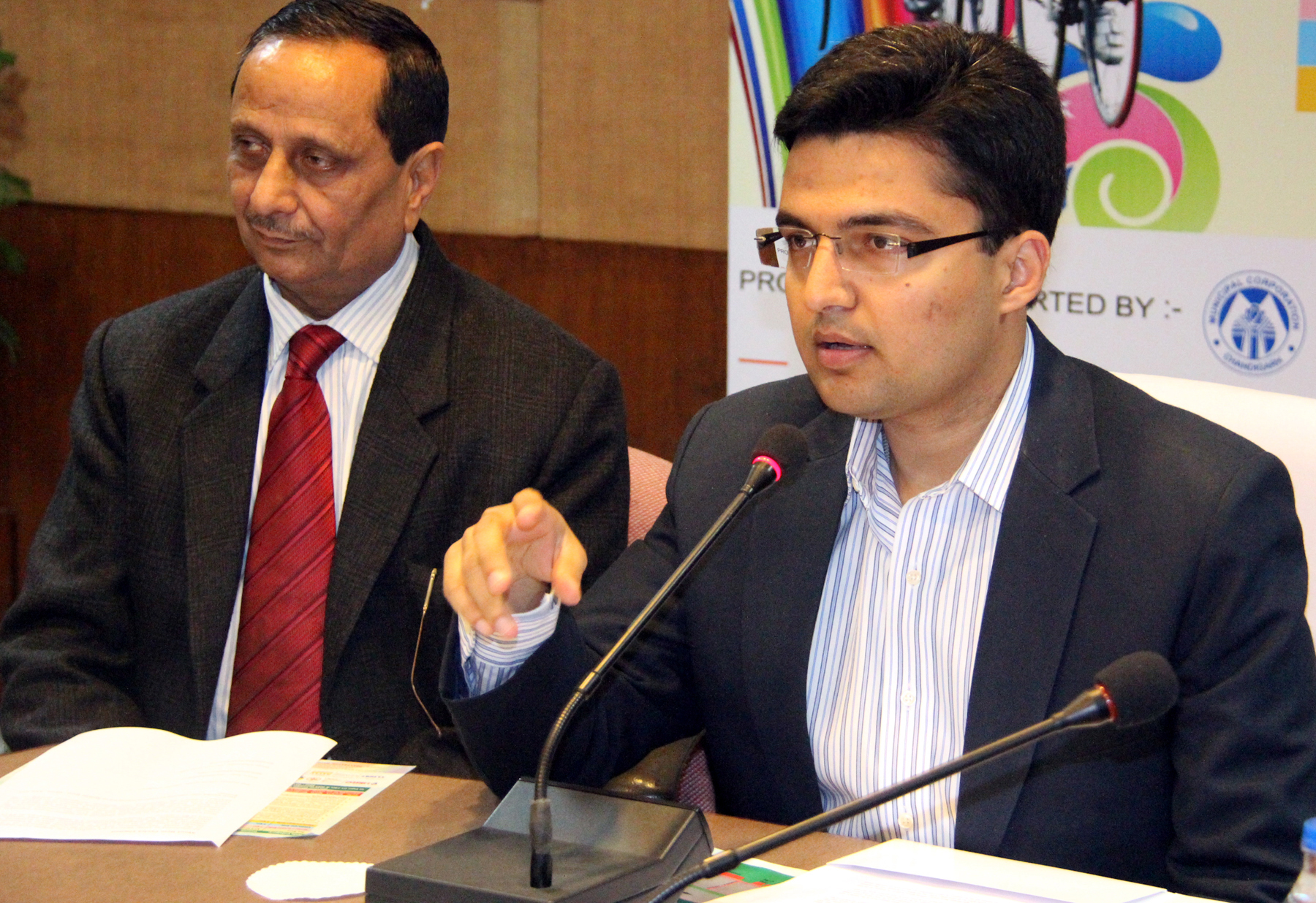 UT SDM-cum-Director Tourism, Shri Kashish Mittal presiding over the press conference regarding �4th National Chandigarh Cyclothon-2014� at UT State Guest House, Chandiarh on Thursday, December,18, 2014.