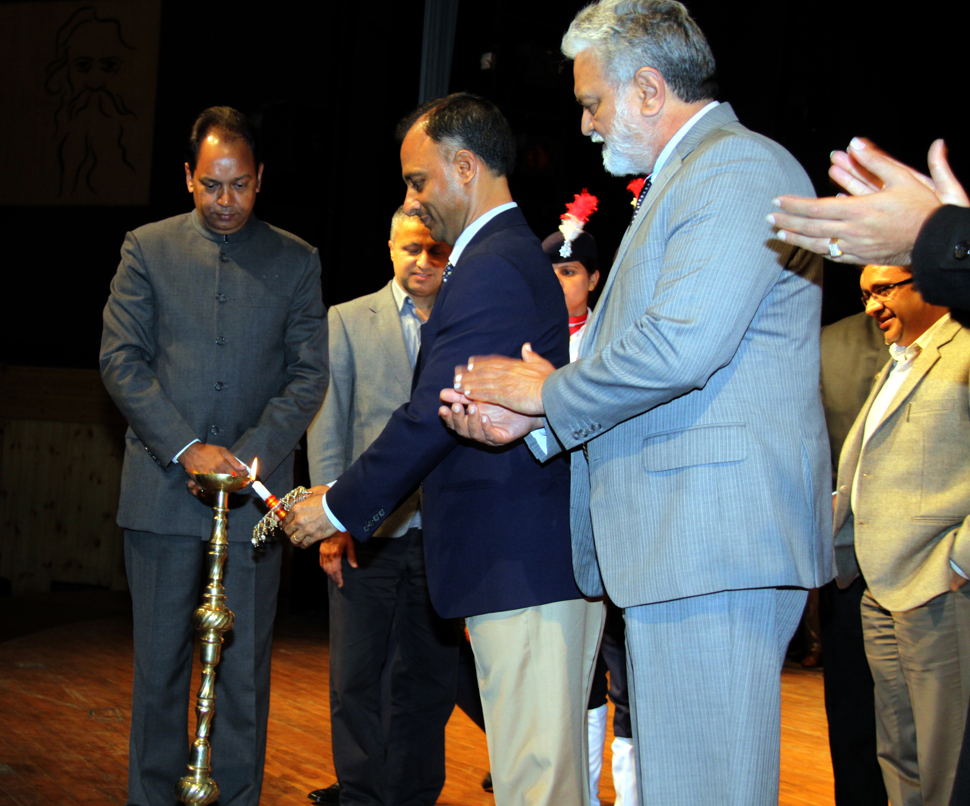 The Adviser to the Administrator, UT, Chandigarh, Mr. Vijay Kumar Dev lighting the traditional lamp at the inauguration of Traffic Awareness Function and Cultural Evening at Tagore Theatre, Sector-18, Chandigarh on Tuesday, January 27, 2015.