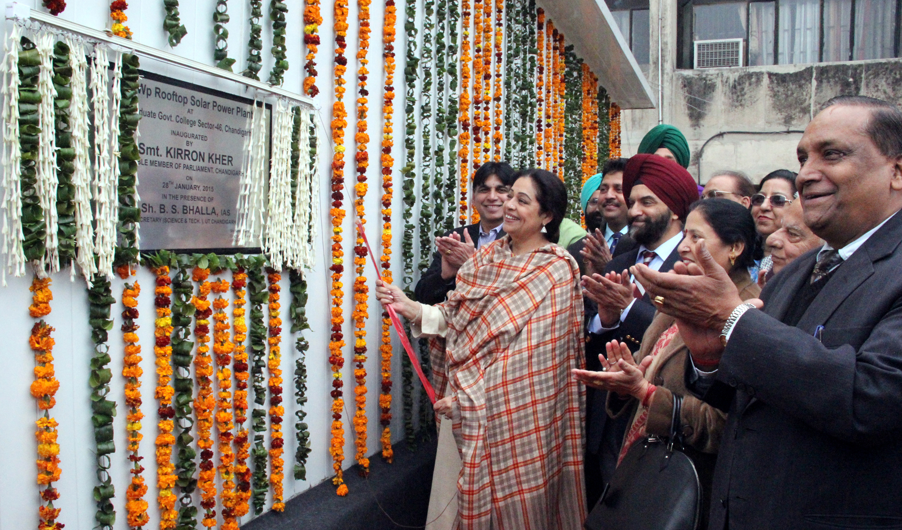 Mrs. Kirron Kher, Member of Parliament, Chandigarh inaugurating the 210 KWP Rooftop Solar Powar Plant at Postgraduate Govt. College, Sector-46, Chandigarh on Wednesday, January 28, 2015.