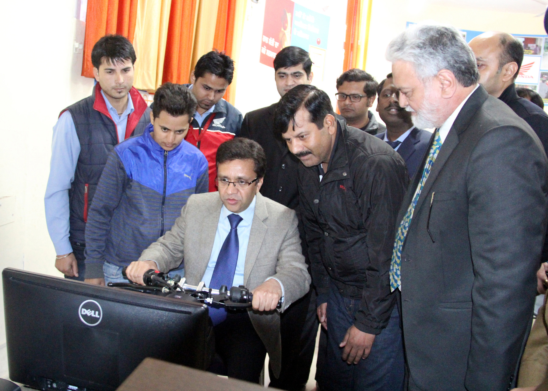 UT Home Secretary, Mr. Anurag Agarwal operating the simulator system during the Traffic Awareness Capmaign at Children Traffic Park, Sector-23, Chandigarh on  Friday, January 30, 2015.