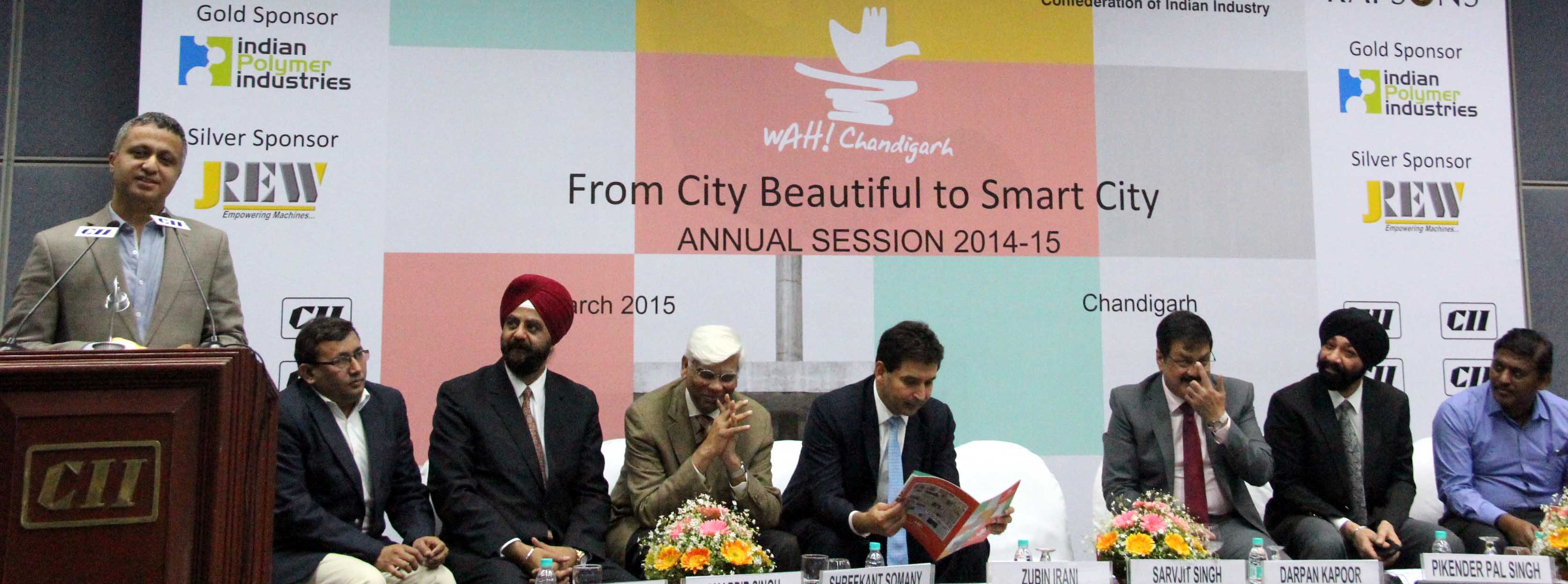 UT Finance Secretary, Mr. Sarvjit Singh addressing the audience in the Session on WAH! Chandigarh: from City Beautiful to Smart City at CII, Sector-31, Chandigarh on Thursday, March 05, 2015.