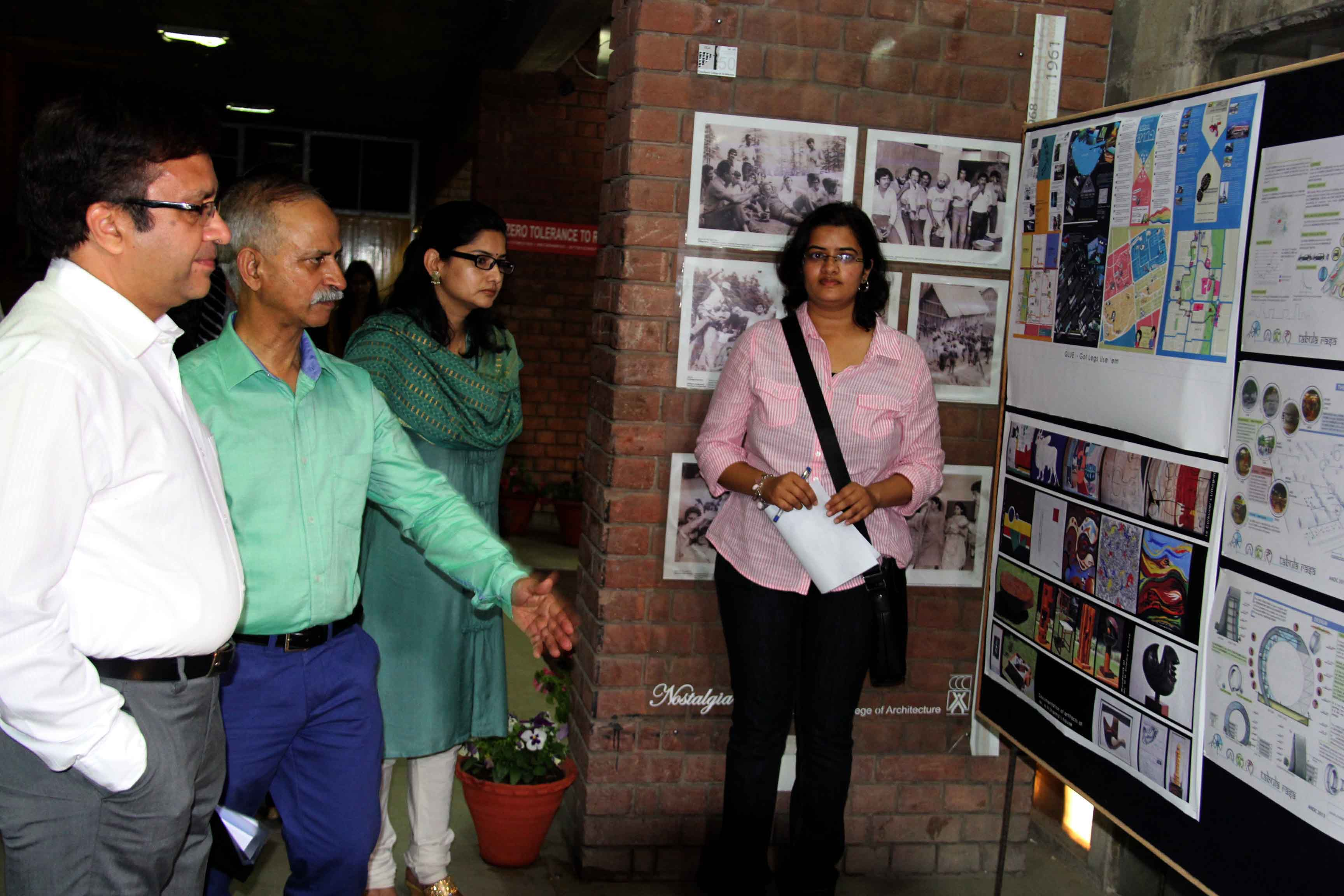 UT Home Secretary, Mr. Anurag Agarwal alongwith senior officers taking a round of exhibition in the 54th Annual Festivities Week �ARCHO-2015� at Chandigarh College of Architecture, Sector-12, Chandigarh on Saturday, March 28, 2015.