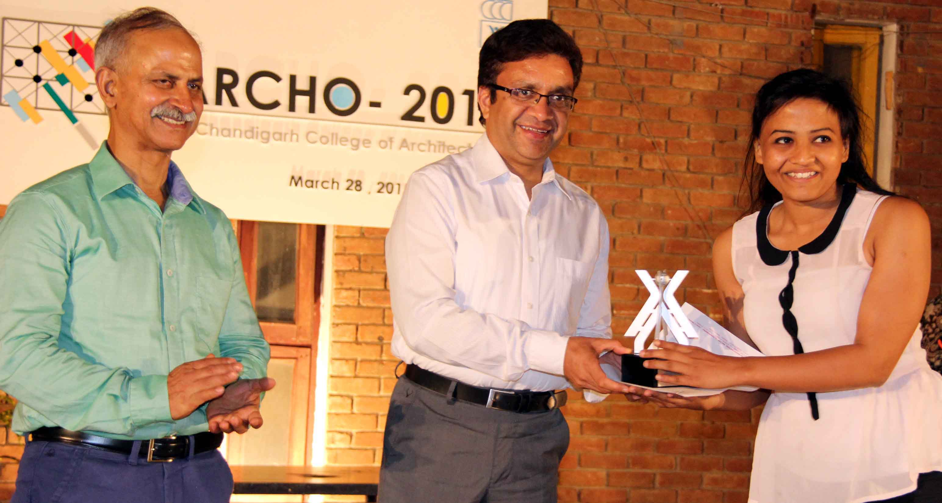 UT Home Secretary, Mr. Anurag Agarwal giving away prizes to the outstanding students in the 54th Annual Festivities Week �ARCHO-2015� at Chandigarh College of Architecture, Sector-12, Chandigarh on Saturday, March 28, 2015.