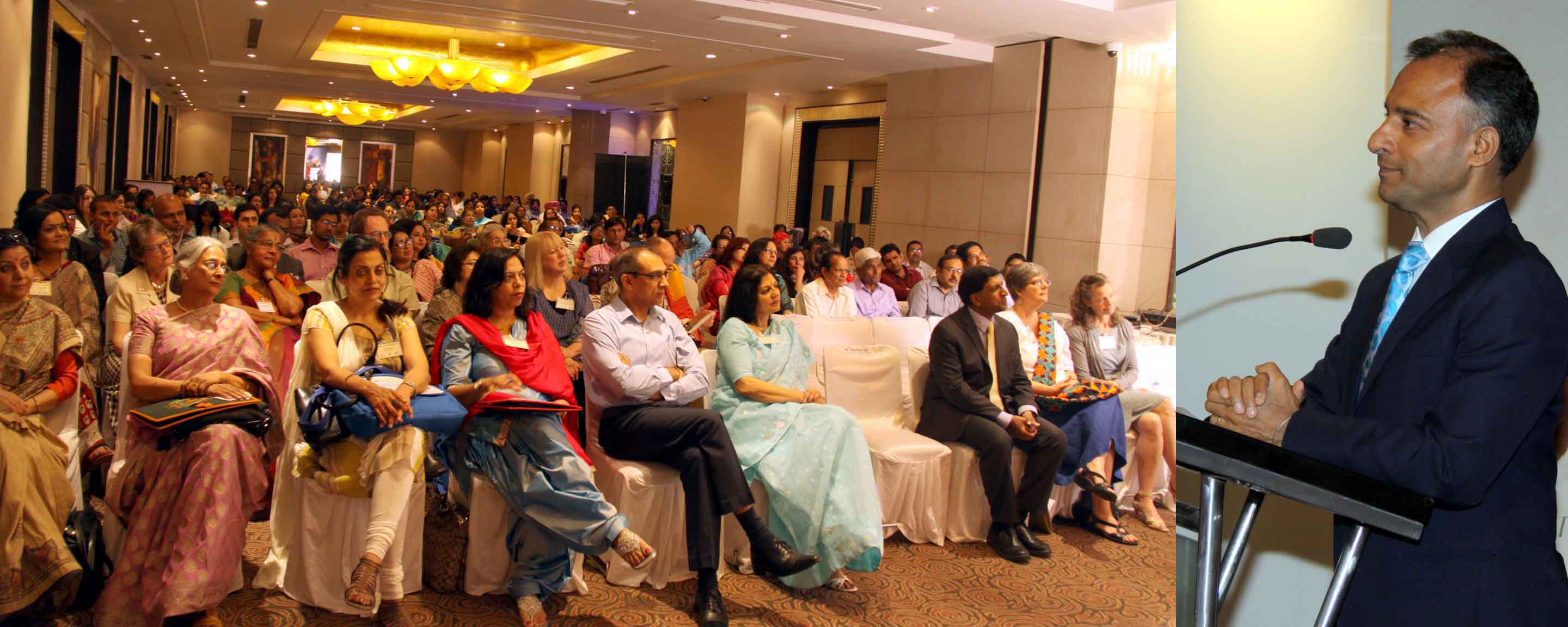 The Adviser to the Administrator, UT, Chandigarh, Mr. Vijay Dev addressing the audience at the inauguration of �TESOL ACADEMY INDIA-2015� Changing Classrooms, Supporting Teachers at Hotel Park Plaza, Sector-17, Chandigarh on Friday, April 24, 2015.