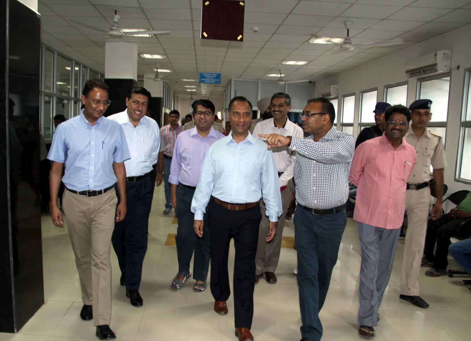 The Adviser to the Administrator, UT, Chandigarh, Mr. Vijay Dev alongwith senior officers visiting at State Transport Authority UT Office, Sector-18, Chandigarh on Friday, May 29, 2015.