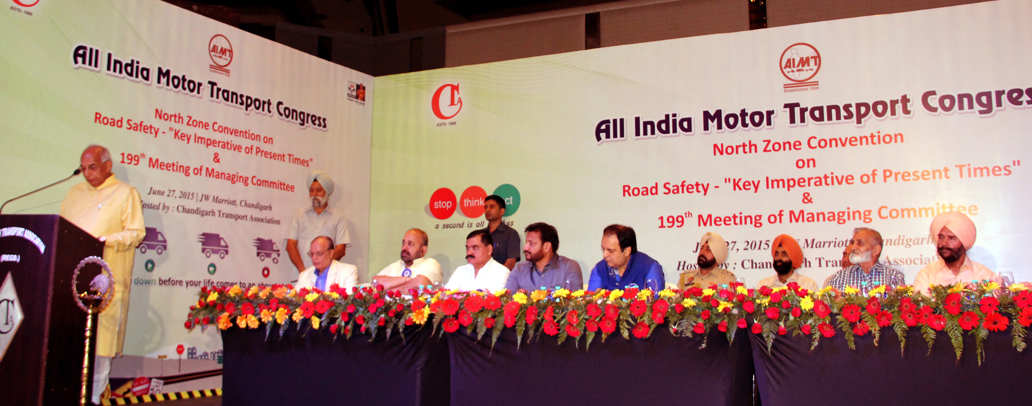The Governor of Haryana, Punjab and Administrator, UT, Chandigarh, Prof. Kaptan Singh Solanki  addressing North Zone Convention on Road Safety organized by All India Motor Transport Congress and Chandigarh Transport Association at Chandigarh on 27.06.2015.