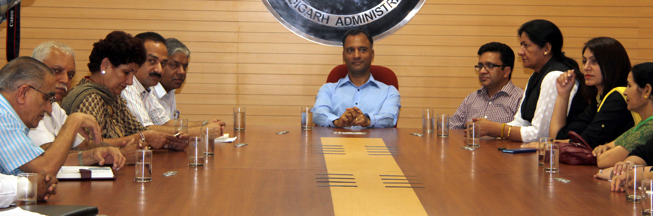 The Adviser to the Administrator, UT, Chandigarh, Mr. Vijay Dev, Mayor, MCC, Mrs. Poonam Sharma, UT Home Secretary, Mr. Anurag Agarwal alongwith councillors in a meeting at UT Secretariat, Chandigarh on Wednesday, July 29, 2015.