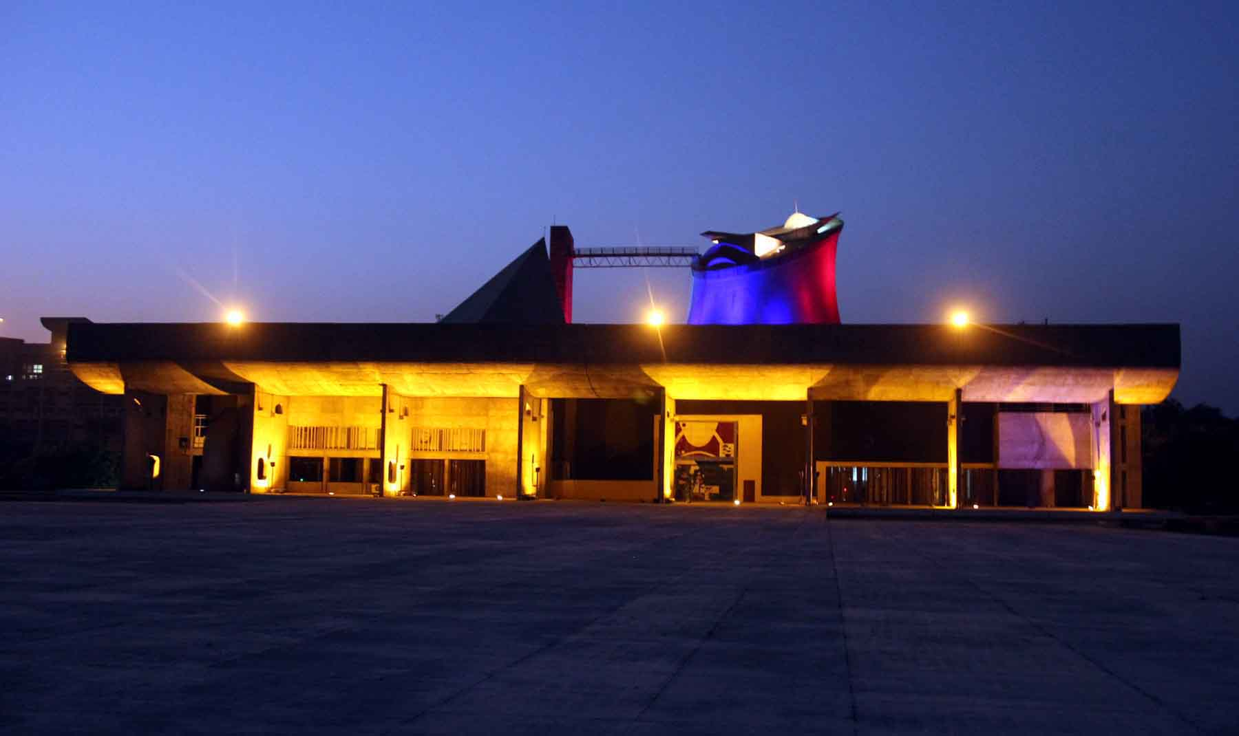 Capitol Complex lighting on the eve of International Symposium �Celebrating Le Corbusier�s Chandigarh� at Capitol Complex, Chandigarh on Thursday, October 08, 2015.