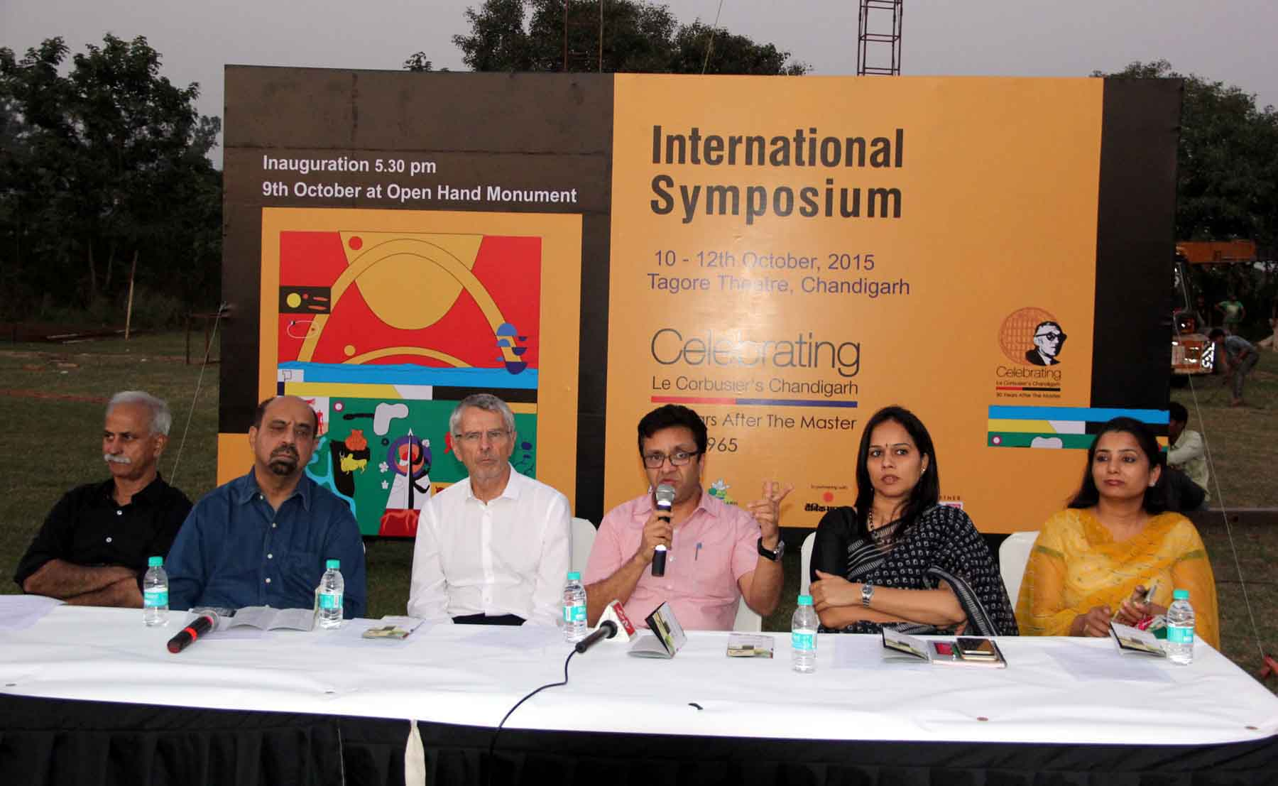 UT Home Secretary, Mr. Anurag Agarwal alongwith seniors officers presiding over the press conference regarding International Symposium �Celebrating Le Corbusier�s Chandigarh� at Capitol Complex, Chandigarh on Thursday, October 08, 2015.