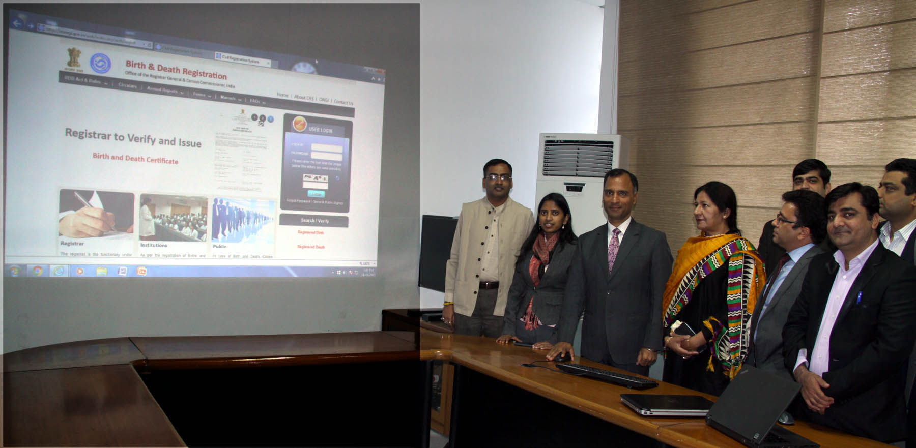 The Adviser to the Administrator, UT, Chandigarh, Mr. Vijay Dev alongwith senior officers launching the online registration of Birth Certificate at UT Secretariat,  Chandigarh on Tuesday, November 24, 2015.