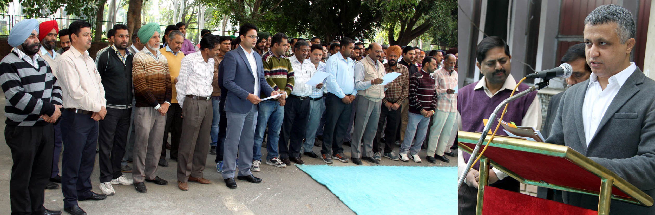 UT Finance Secretary, Mr. Sarvjit Singh administering the pledge to the officials of Chandigarh Administration on the celebration of  �Constitution Day� at UT Secretariat, Chandigarh on Thursday, November 26, 2015.