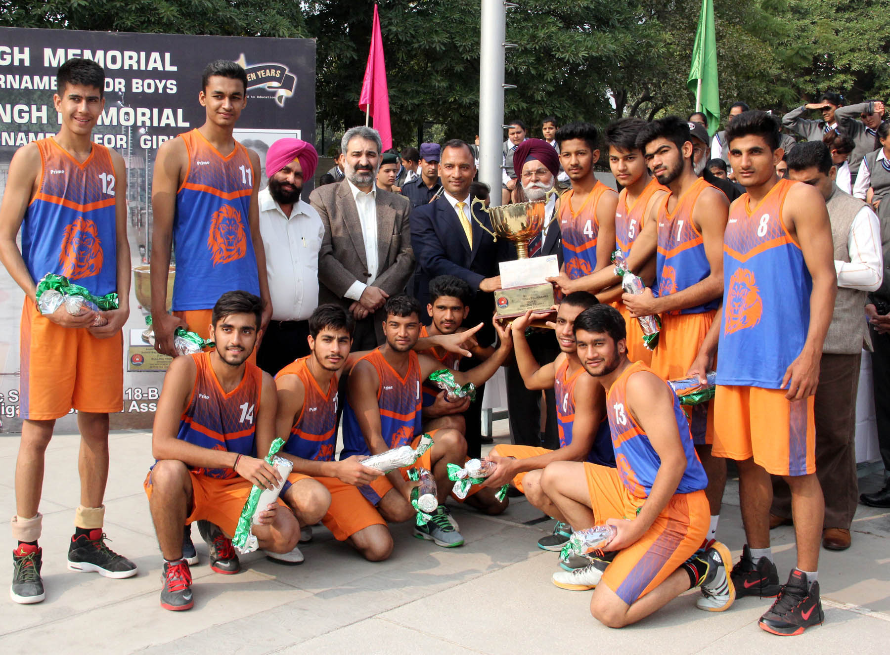 The Adviser to the Administrator, UT, Chandigarh, Mr. Vijay Dev giving away the Trophy to Winner team of Rao Jai Singh Memorial Basketball Tournament for Boys at New Public School, Sectror-18, Chandigarh on Monday, November 30, 2015.