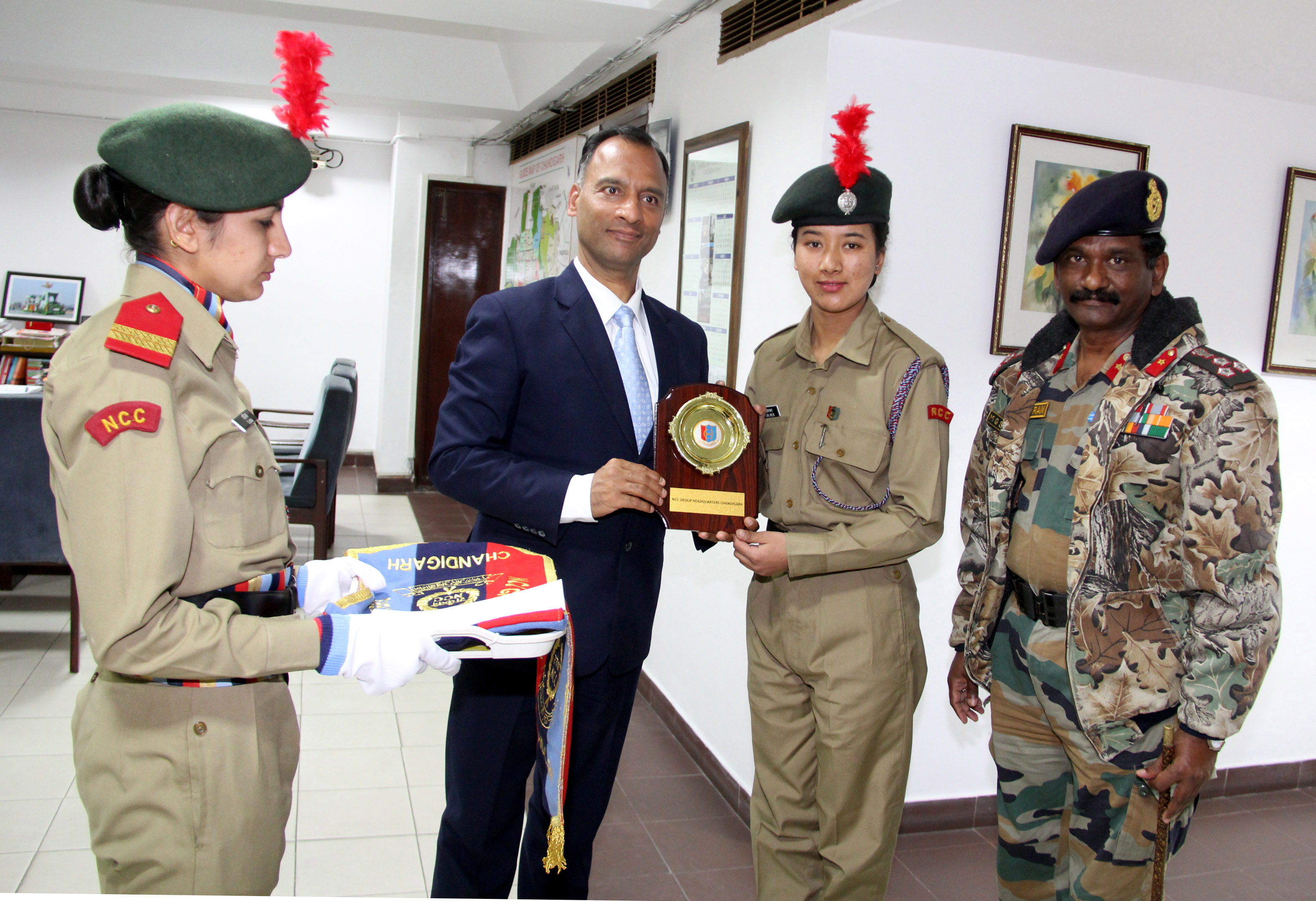 The Adviser to the Administrator, UT, Chandigarh, Mr. Vijay Dev Felicitated  to Cadet Rigzen Dolkar NCC, Chandigarh, for getting selected to scale Mr. Everest Ependition (all Girls) NCC in Apr 2016 at UT Secretariat, Chandigarh on Thursday, February 11, 2016.She completed her training at Siachen Glacier last week.