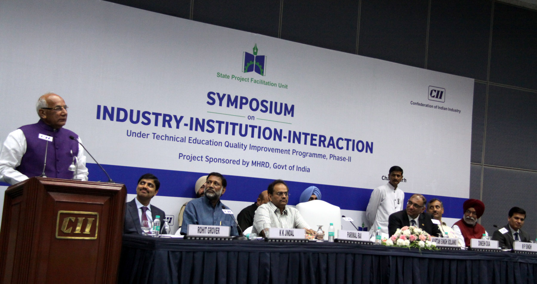 The Governor of Haryana, Punjab and Administrator, UT, Chandigarh, Prof. Kaptan Singh Solanki speaking in the �National Level Symposium on Industry Institution  Interaction-2016�  at CII, Sector-31, Chandigarh on Wednesday, May 25, 2016.