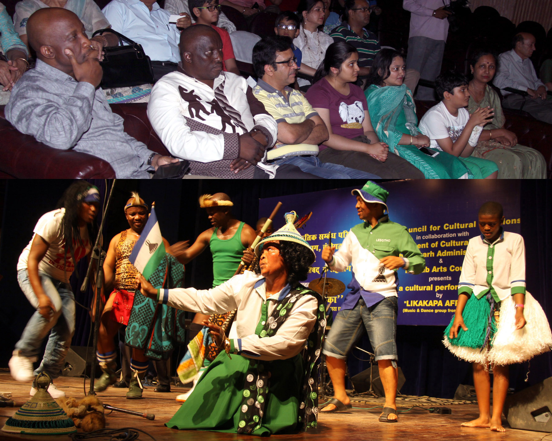UT Home Secretary, Mr. Anurag Agarwal alongwith senior officers witnessing the cultural performance by �LIKAKAPA AFRICA� (Music & Dance Group from Lesotho) at Punjab Kala Bhawan, Sector-16, Chandigarh on Saturday, May 28, 2016.
