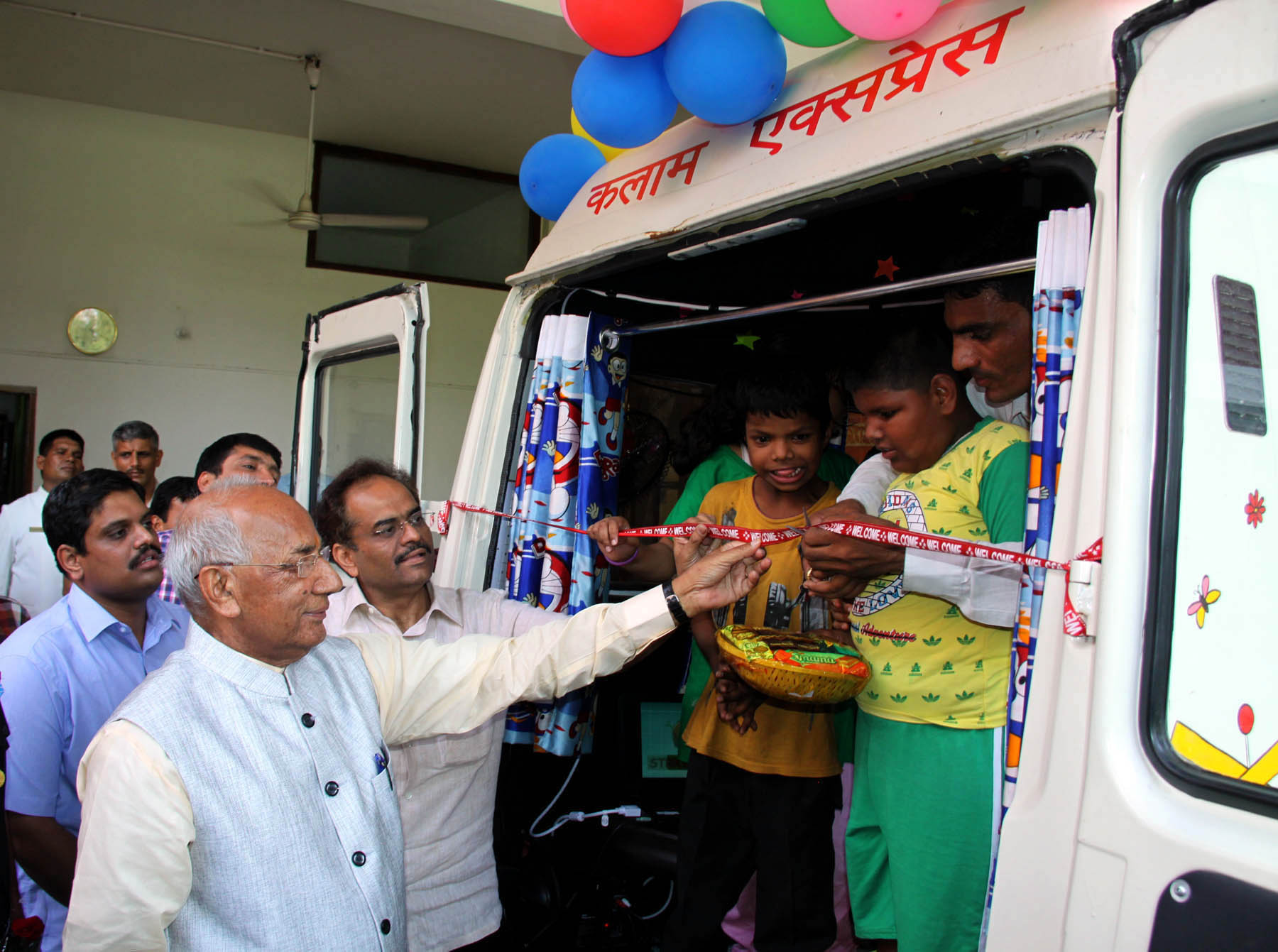 The Governor of Haryana, Punjab and Administrator, UT, Chandigarh, Prof. Kaptan Singh Solanki alongwith Adviser to the Administrator, UT, Chandigarh, Sh. Parimal Rai and children inaugurating the �Kalam Express� a Mobile Educational-cum-Rehabilitation unit for Children with Special needs at Haryana Raj Bhawan, Chandigarh on Thursday, June 23, 2016.
