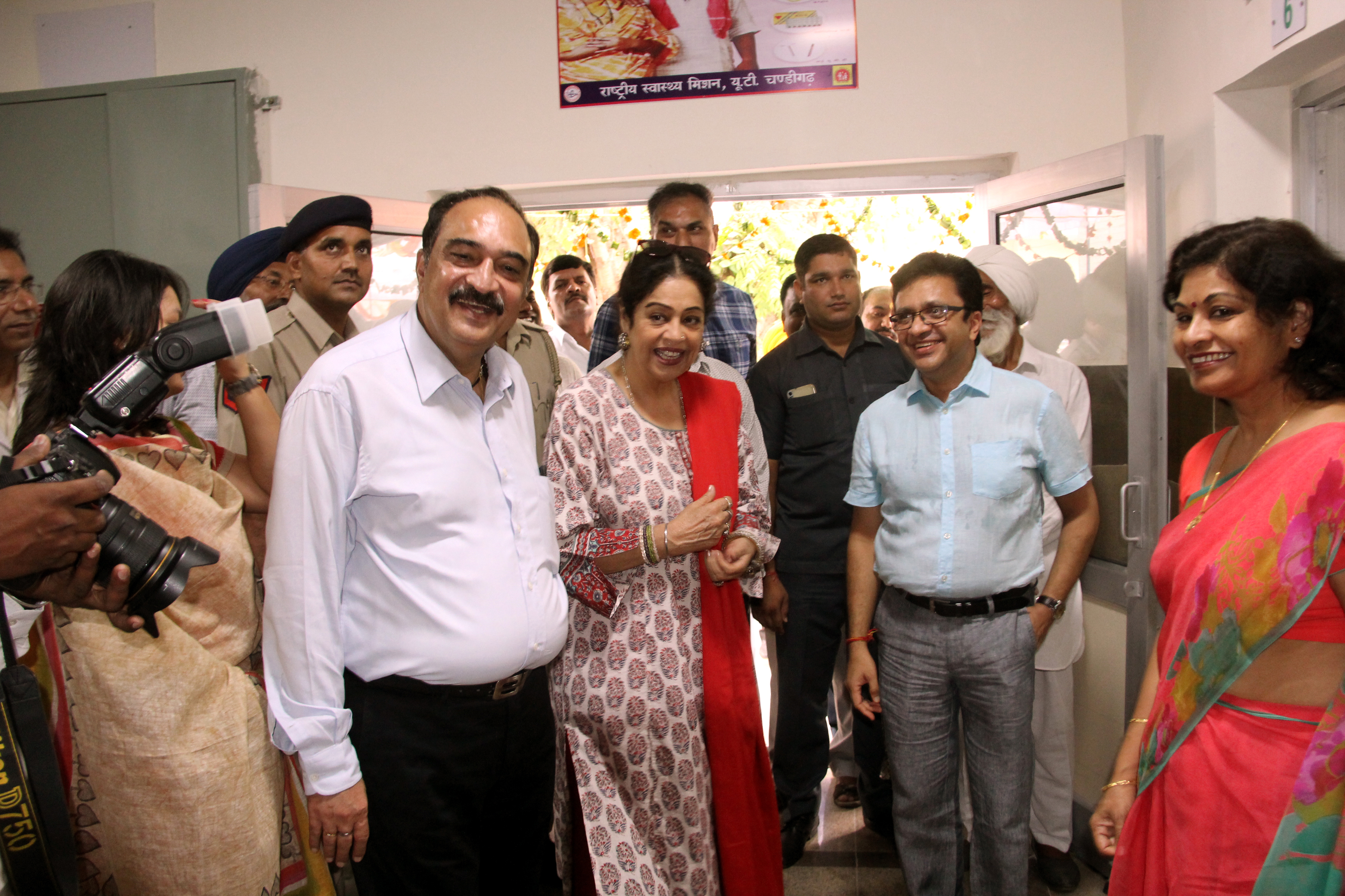 Smt. Kirron Kher, Member of Parliament, Chandigarh taking the around after  inaugurating the Dispensary at Village Sarangpur, Chandigarh on Saturday, August 27, 2016.