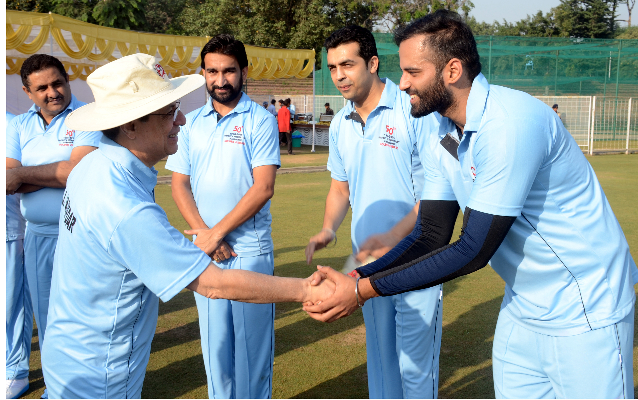Hon�ble Mr. Justice Shiavax Jal Vazifdar, Chief Justice, Punjab & Haryana High Court, Chandigarh being introduced with the players at the inauguration of friendly Cricket Match between the bar and the Bench at Cricket Stadium, Sector-16, Chandigarh  on Saturday, October 22, 2016.
