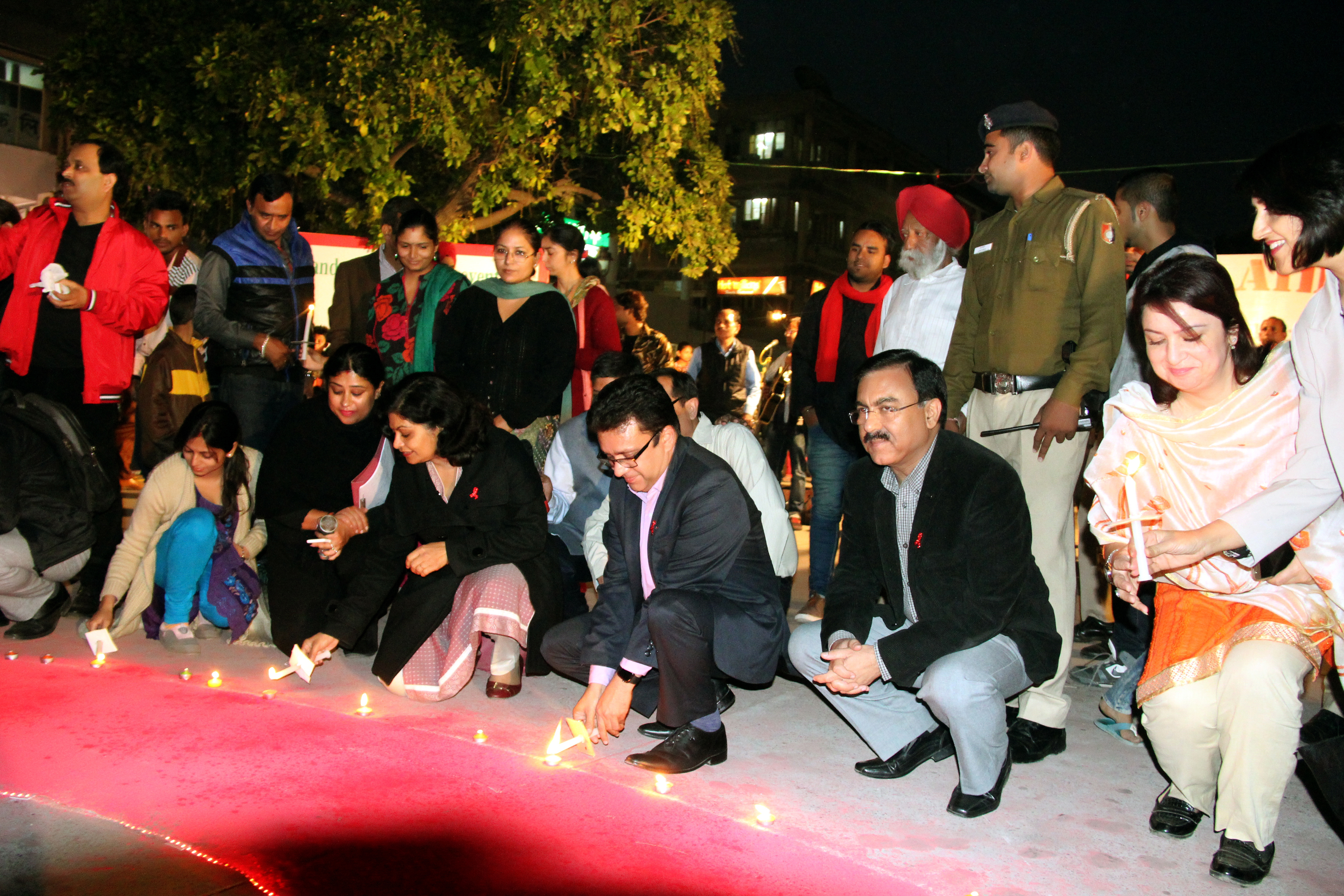 UT Home Secretary, Shri Anurag Agarwal  lighting the Candle at the inauguration of  World Aids day  Function at Plaza Sector 17  Chandigarh on Thursday December 1, 2016.