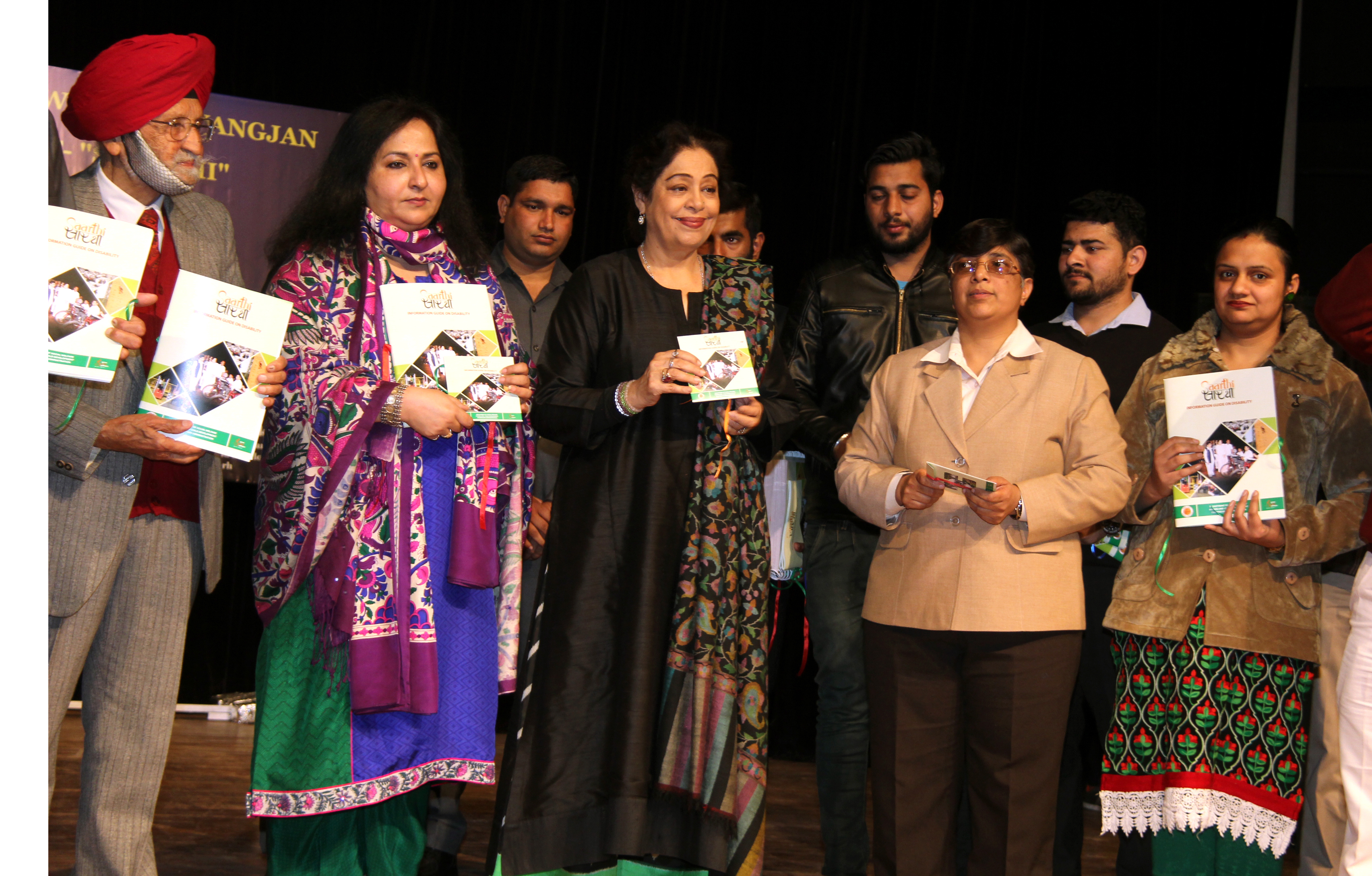 Smt. Kirron Kher, Member of Parliament, Chandigarh alongwith senior officers releasing of Booklet SAARTHI in  the Fashion Show for Divyangjan at Tagore Theatre, Sector-18, Chandigarh on Monday, January 23, 2017.