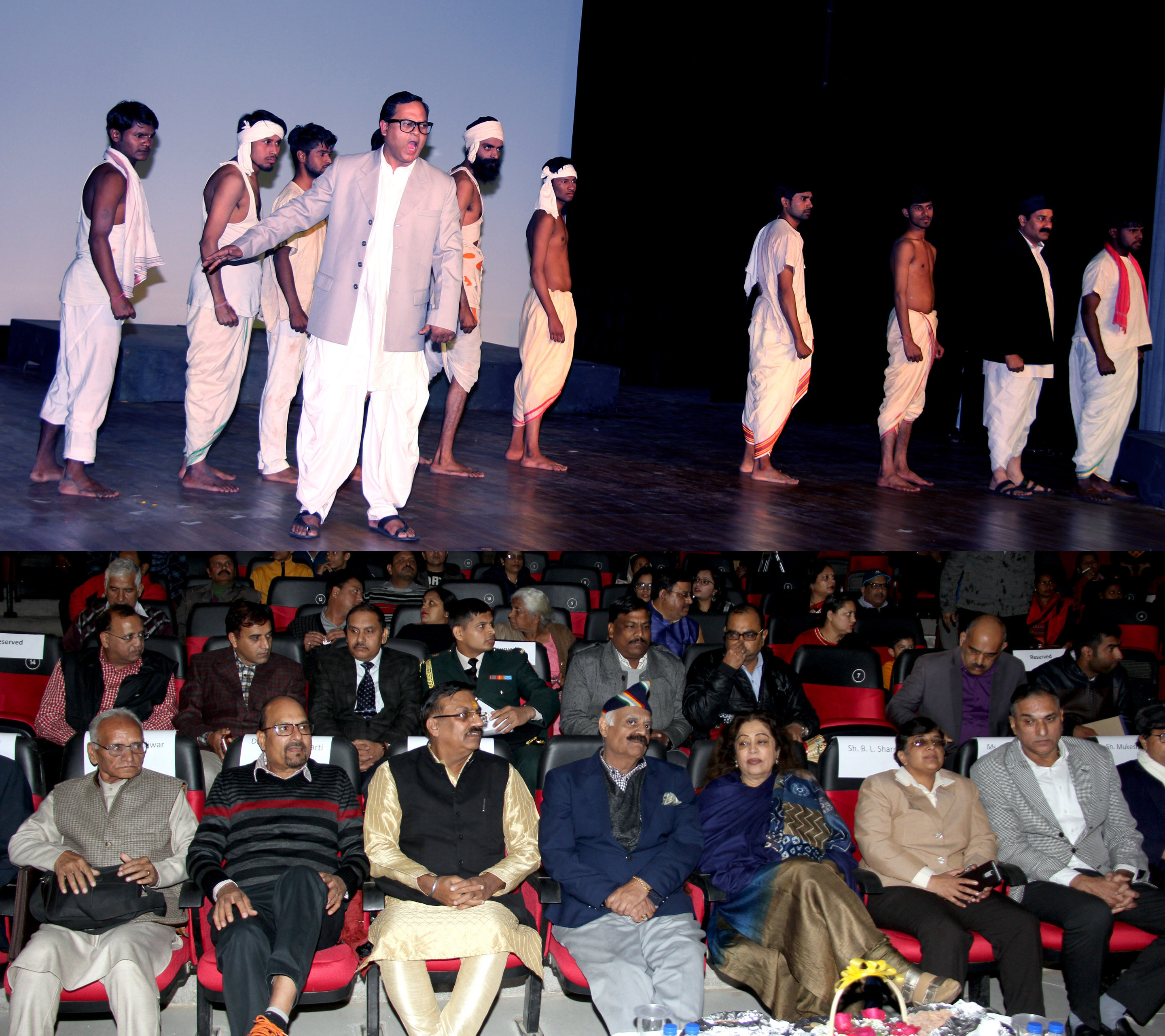 "The Governor of Punjab and Administrator, UT, Chandigarh, Shri V.P. Singh Badnore, Smt. Kirron Kher, Member of Parliament Chandigarh,  alongwith senior officers witnessing a play ""Ak Ta Yug Pursh-Baba Sahib Ambedkar"" at the inauguration of Acharya Abhinav Gupt National Theatre Festival at Bal Bhawan, Sector-23, Chandigarh on Monday,  December 11, 2017."