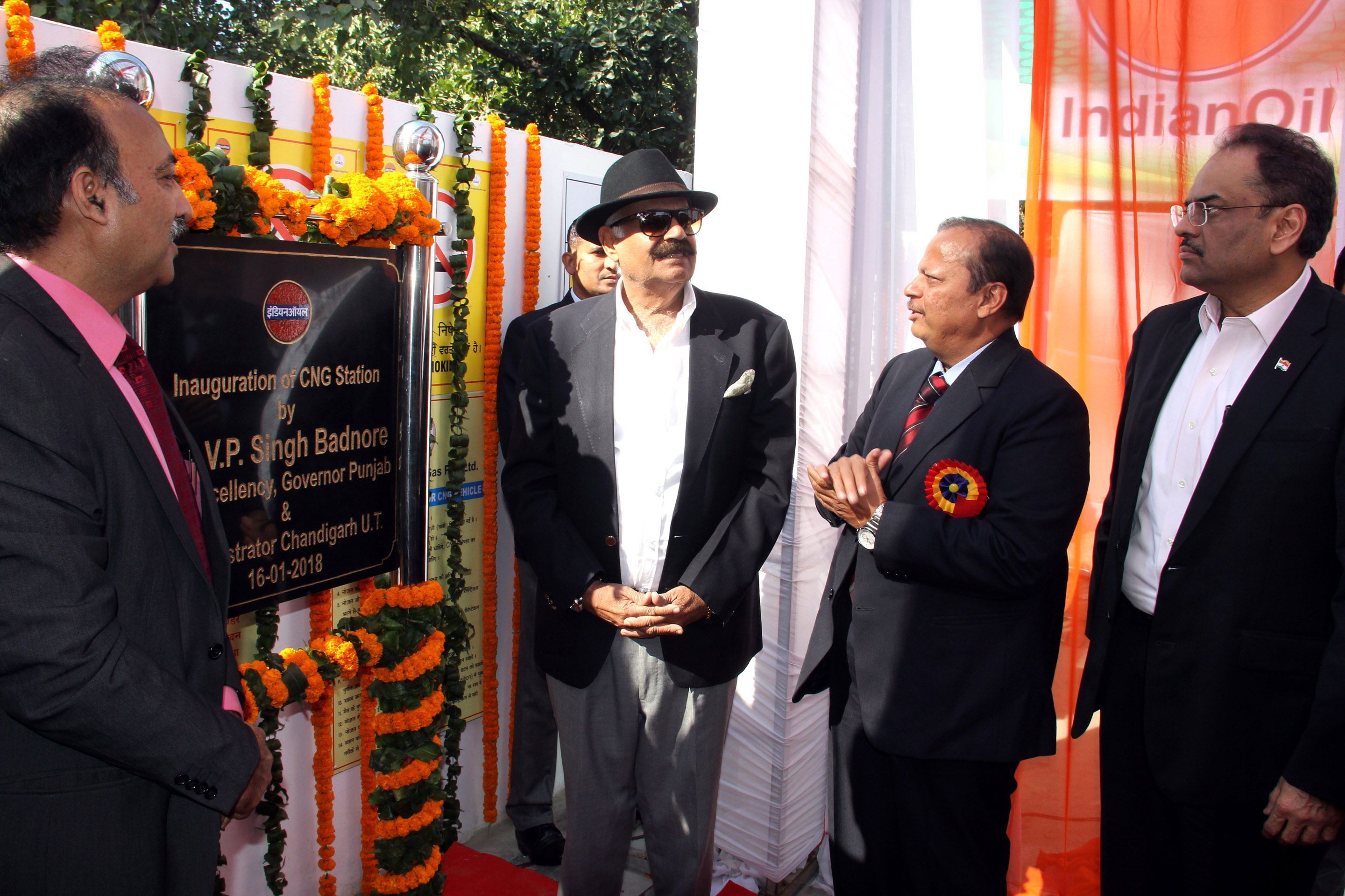 The Governor of Punjab and Administrator, UT, Chandigarh, Shri V.P. Singh Badnore alongwith the Adviser to the Administrator, UT, Chandigarh, Shri Parimal Rai inaugurating the CNG Station at Sector-17, Chandigarh on Tuesday, January 16, 2017.