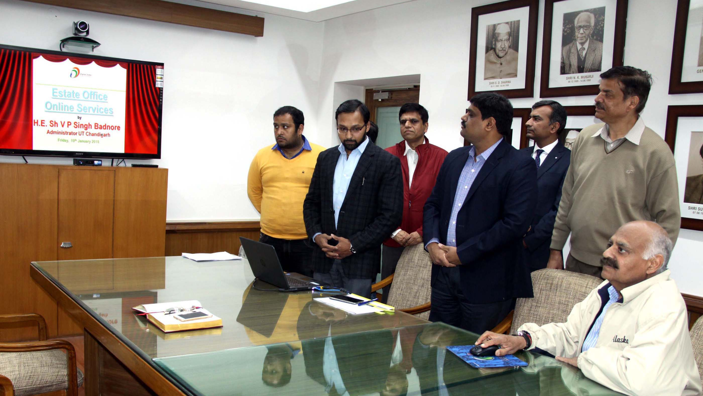 "The Governor of Punjab and Administrator, UT, Chandigarh, Shri V.P. Singh Badnore Launching the ""On-line Appointment System"" for various services of Estate Office, U.T. Chandigarh at Punjab Raj Bhawan, Chandigarh on Friday, January 19, 2018."