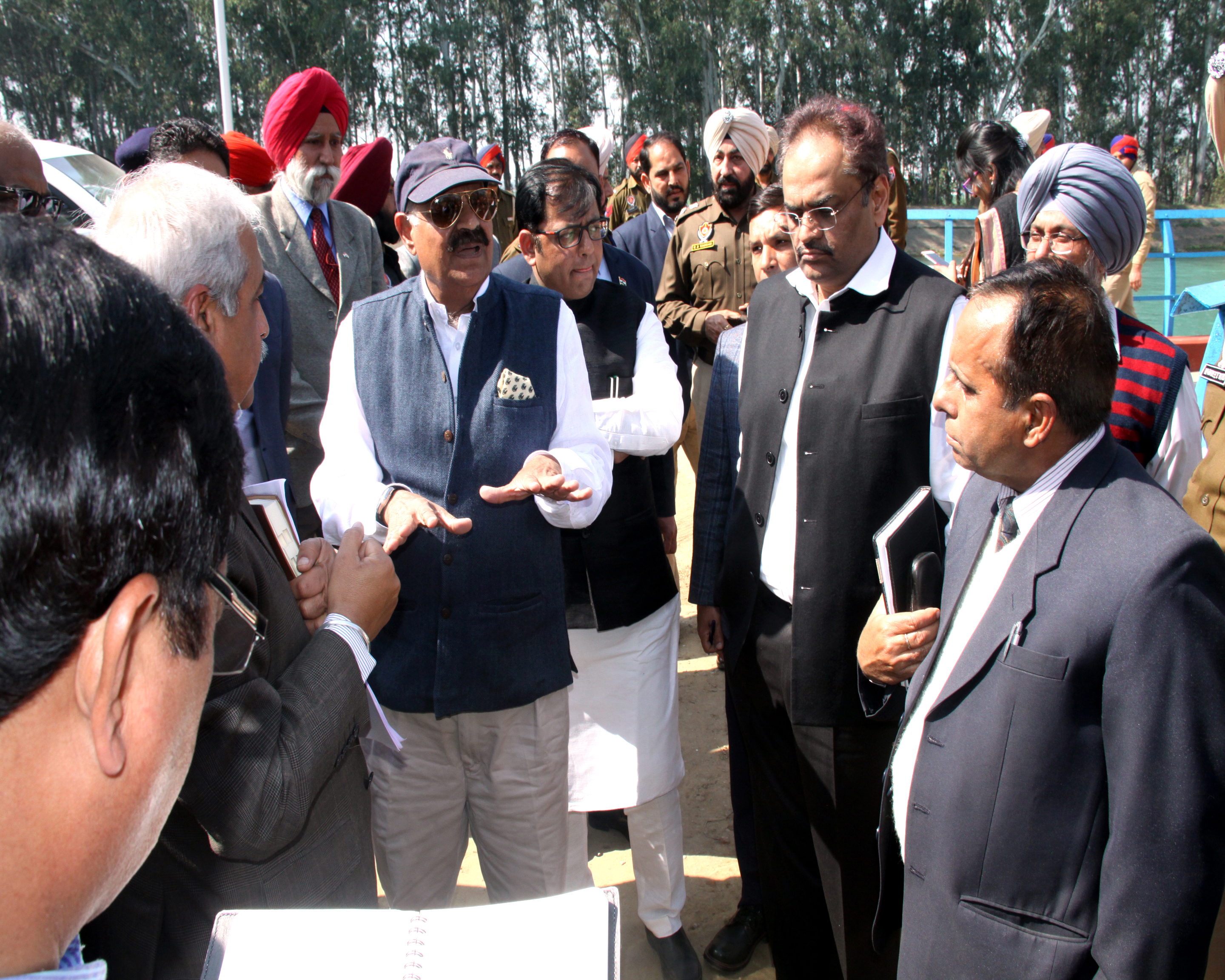 The Governor of Punjab and Administrator, UT, Chandigarh, Shri V.P. Singh Badnore alongwith the Adviser to the Administrator, UT, Chandigarh, Shri Parimal Rai, Mayor, MCC,  Shri Davesh Moudgil and  senior officers visiting at Kajauli Water Works on Monday, February 19, 2018.